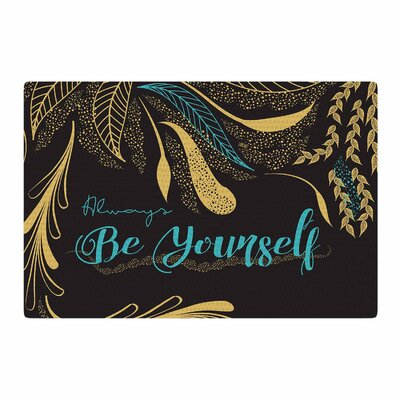 Famenxt Always Be Yourself Gold/Black/Teal Area Rug Rug Size: 2 x 3