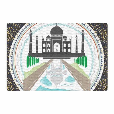 Famenxt The Taj Mahal India Green/Gray Area Rug Rug Size: 2 x 3