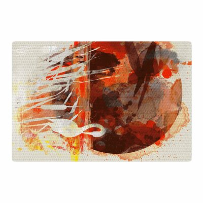 Frederic Levy-Hadida Moon Painted With Tea Digital Beige/Orange Area Rug Rug Size: Rectangle 2 x 3
