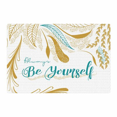 Famenxt Always Be Yourself Teal/Gold Area Rug Rug Size: 2 x 3