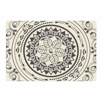 Famenxt Boho Folk Mandala Digital Gray/Cream Area Rug Rug Size: 4 x 6