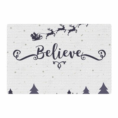 Famenxt Christmas Believe Illustration Gray/Lavender Area Rug Rug Size: 4 x 6