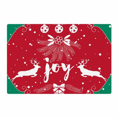 Famenxt Christmas Joy Digital Red/Green Area Rug Rug Size: 4 x 6