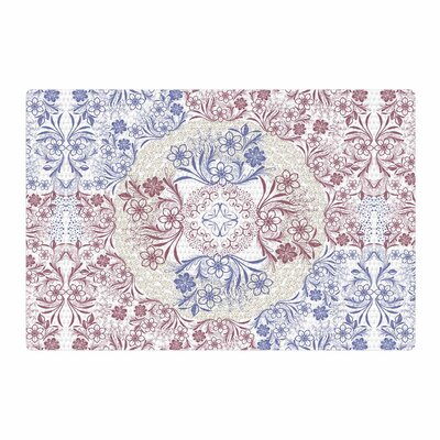 Famenxt Floral Dense Garden Illustration Blue/Brown Area Rug Rug Size: 4 x 6