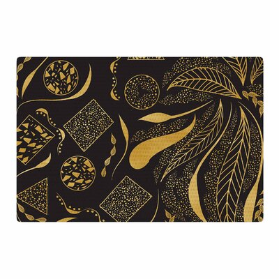 Famenxt Gold Ornaments Black/Gold Area Rug Rug Size: 4 x 6