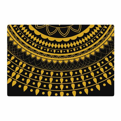 Famenxt Golden Vibes Mandala Digital Gold/Black Area Rug Rug Size: Rectangle 2 x 3