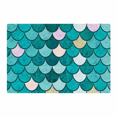 Famenxt Mermaid Fish Scales Illustration Teal/Nautical Area Rug Rug Size: 4 x 6