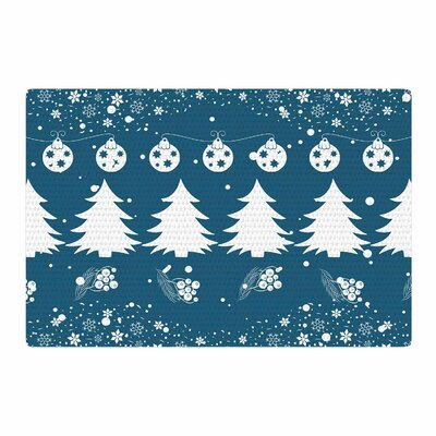 Famenxt Merry Christmas Holiday Illustration Blue/White Area Rug Rug Size: 2 x 3