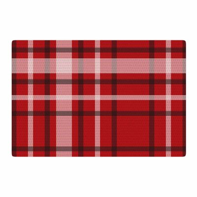 Famenxt Plaid Red Digital Red/Black Area Rug Rug Size: 2 x 3