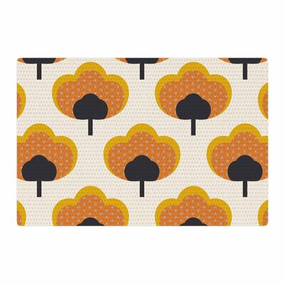 Natt Yellow Flowers Orange/Black Area Rug Rug Size: 4 x 6