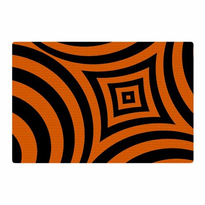 Fotios Pavlopoulos Symmetry In Disguise Digital Black/Orange Area Rug Rug Size: 2 x 3