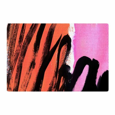 Iris Lehnhardt Strokes on Sherbet Abstract Black/Orange Area Rug Rug Size: 2 x 3