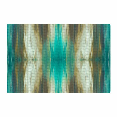 Ebi Emporium Butterfly Tribal 4 Painting Teal/Tan Area Rug Rug Size: 4 x 6