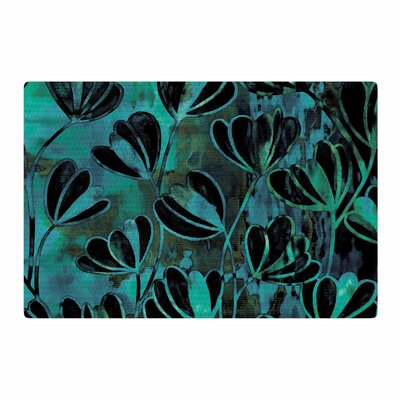 Ebi Emporium Efflorescence Watercolor Teal/Black Area Rug Rug Size: 4 x 6