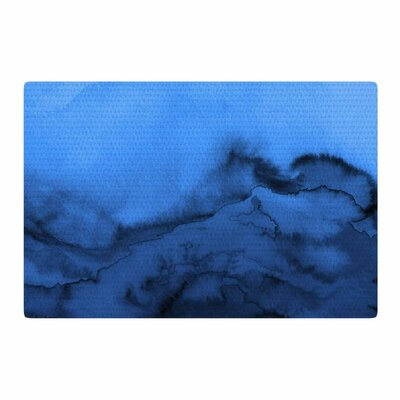 Ebi Emporium Winter Waves Shades of Blue Painting Blue/Black Area Rug Rug Size: 4 x 6