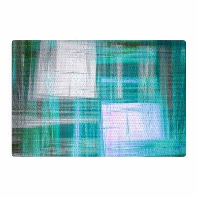 Ebi Emporium Tartan Crosshatch 3 Painting Teal/Black Area Rug Rug Size: 4 x 6