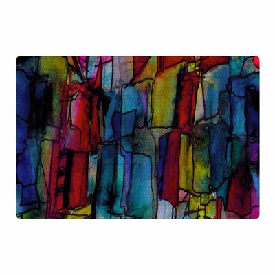 Ebi Emporium Facets Of The Self 4 Mixed Media Blue/Red Area Rug Rug Size: 2 x 3