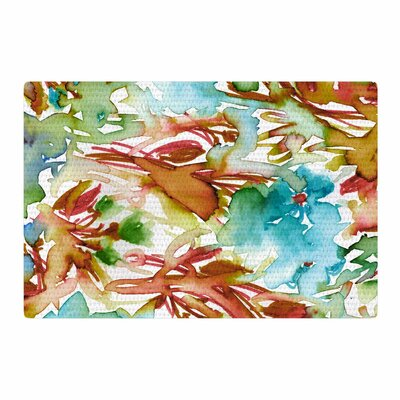 Ebi Emporium Floral Destiny 3 Watercolor Orange/Teal Area Rug Rug Size: 2 x 3