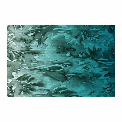 Ebi Emporium Forever Flowers Watercolor Teal/Gray Area Rug Rug Size: 2 x 3