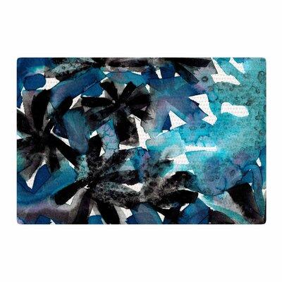 Ebi Emporium Snowy Stars 1 Turquoise Painting Blue/Black Area Rug Rug Size: 4 x 6