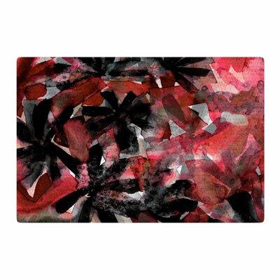 Ebi Emporium Snowy Stars 2 Painting Red/Black Area Rug Rug Size: 4 x 6
