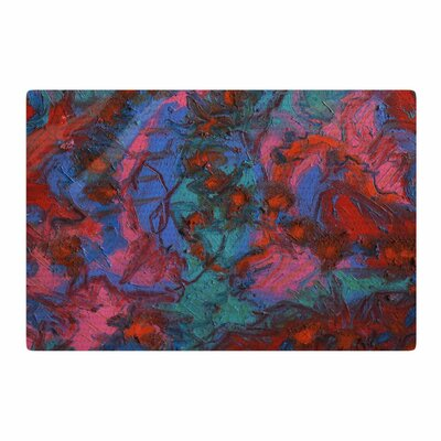 Jeff Ferst Koi Pond Painting Red/Teal Area Rug Rug Size: 2 x 3