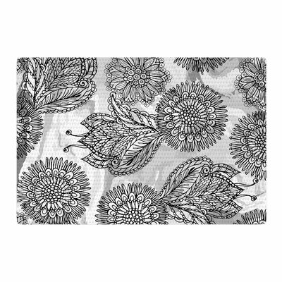 Julia Grifol Flower Vector Black/Gray Area Rug Rug Size: 2 x 3