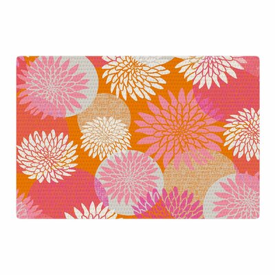 Jacqueline Milton Flower Power Illustration Orange/Pink Area Rug Rug Size: 2 x 3