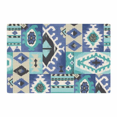 Jacqueline Milton Tribal Patch Painting Blue/Teal Area Rug Rug Size: 4 x 6