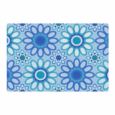 Julia Grifol Flower Tile Vector Blue/Green Area Rug Rug Size: 2 x 3