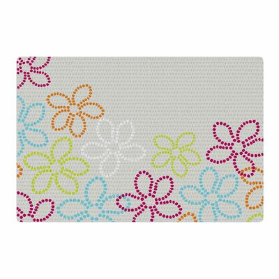Julia Grifol Dancing Flower Vector Gray/Orange Area Rug Rug Size: 4 x 6