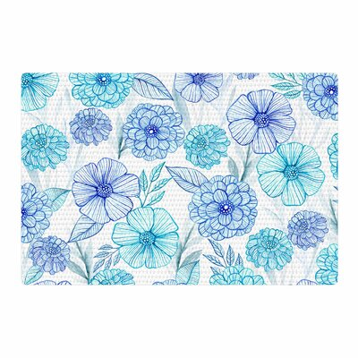 Julia Grifol Sweet Garden Watercolor Blue/White Area Rug Rug Size: 2 x 3