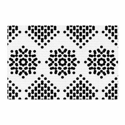 Tiny September Dot Party Digital Black/White Area Rug Rug Size: 2 x 3