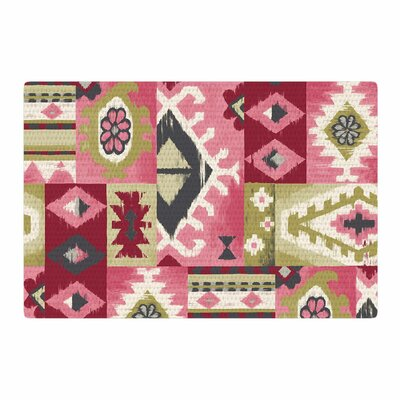 Jacqueline Milton Tribal Patch Painting Red/Pink Area Rug Rug Size: 2 x 3