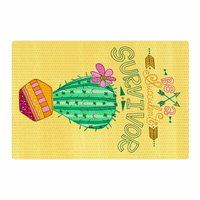 Jane Smith Be a Succulent Survivor Illustration Yellow Area Rug Rug Size: 2 x 3