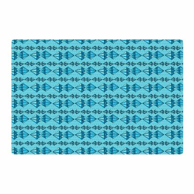 Jane Smith Diamond Stripe Illustration Blue/Gray Area Rug Rug Size: 4 x 6