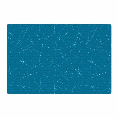 Jane Smith Cool Sparkle Starbursts Modern Illustration Blue Area Rug Rug Size: 2 x 3