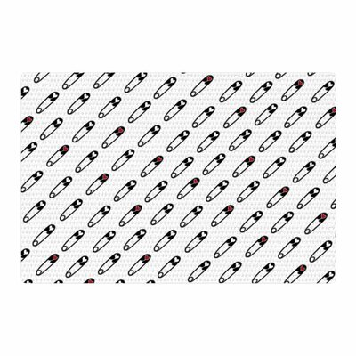 Jane Smith Heart Safety Pins Illustration Black/Red Area Rug Rug Size: 4 x 6