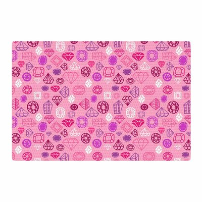 Jane Smith Pink Gems Illustration Pink/Purple Area Rug Rug Size: 2 x 3