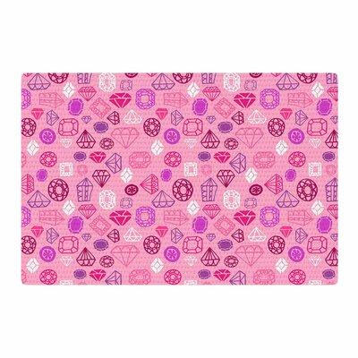 Jane Smith Pink Gems Illustration Pink/Purple Area Rug Rug Size: 4 x 6