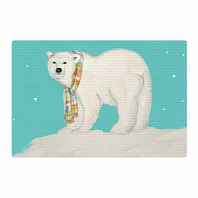 Jennifer Rizzo Chilly Snow Bear Aqua/White Area Rug Rug Size: 2 x 3
