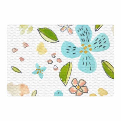 Jennifer Rizzo Happy Flower Dance Floral Blue/Green Area Rug Rug Size: 4 x 6