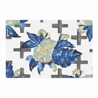 Jennifer Rizzo Plus Sign Floral Floral Blue/Green Area Rug Rug Size: 4 x 6