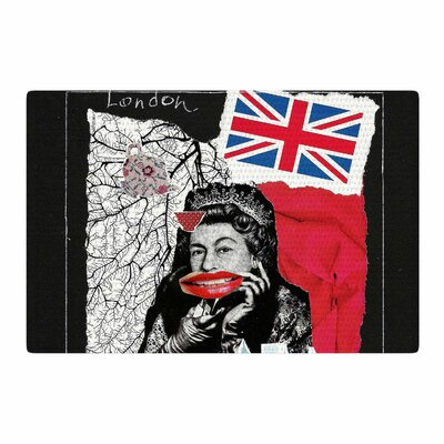 Jina Ninjjaga London Illustration Blue/Red Area Rug Rug Size: 2 x 3