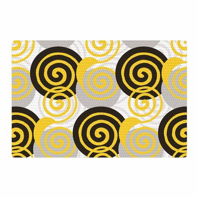 Patternmuse Dynamic Swirls Yellow/Black Area Rug Rug Size: 2 x 3