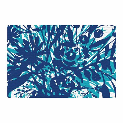 Patternmuse Inky Floral Navy Teal Painting Blue Area Rug Rug Size: 4 x 6