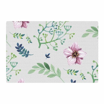Louise Summer Flower Pattern Pink/Green Area Rug Rug Size: 2 x 3