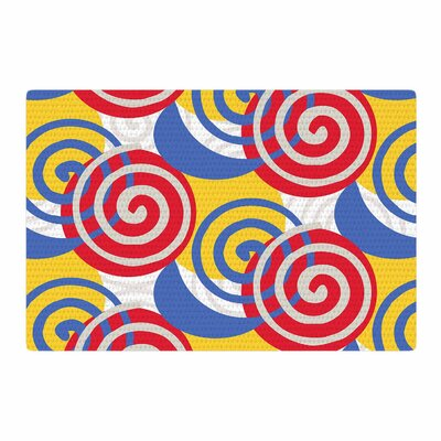 Patternmuse Dynamic Swirls Multi Digital Red/Yellow Area Rug Rug Size: 2 x 3
