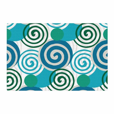 Patternmuse Dynamic Swirls Teal Digital Blue Area Rug Rug Size: 2 x 3