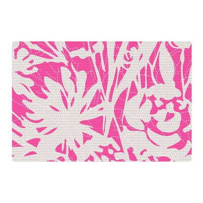 Patternmuse Inky Floral Peony Illustration Pink/White Area Rug Rug Size: 2 x 3